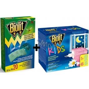 Biolit Kids Elektrický odpařovač s tekutou náplní proti komárům 45 nocí 35 ml + Biolit Polštářky do elektrického odpuzovače komárů náplň 20 kusů