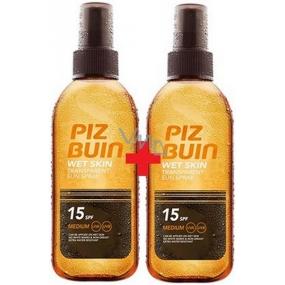 Piz Buin Wet Skin Transparent Sun SPF15 transparentní sluneční sprej 150 ml + Piz Buin Wet Skin Transparent Sun SPF15 transparentní sluneční sprej 150 ml, duopack
