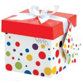 Dárková krabička skládací s mašlí 02 Puntíky XS 10x10x10 cm