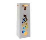 Ditipo Dárková papírová taška na láhev Glitter 12 x 35 x 9 cm stříbrná, flaška, barevné hrozny
