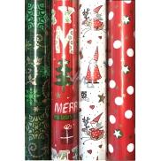Zöllner Vánoční balicí papír červený bílé puntíky a zlaté hvězdy 2 m x 70 cm