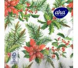 Aha Papírové ubrousky 3 vrstvé 33 x 33 cm 20 kusů Vánoční hvězda, větvičky jehličí