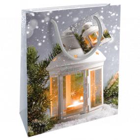 Nekupto Dárková papírová taška 23 x 18 x 10 cm Vánoční stříbrná lucerna WBM 1925 02