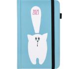 Albi Diář 2021 Kapesní s gumičkou Modrý s kočkou 9,5 cm x 15 cm x 1,3 cm
