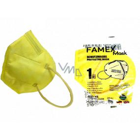 Famex Respirátor ústní ochranný 5-vrstvý FFP2 obličejová maska žlutá 1 kus