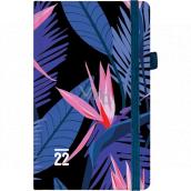 Albi Diář 2022 kapesní s gumičkou Tmavé květy 15 x 9,5 x 1,3 cm