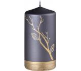 Emocio Svíčka Strom s listy metal mat černo-zlatá 75 x 140 mm