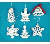 Háčkovaná sada sněhulák, anděl, zvonek, hvězda, stromek, vločka cca 8 cm