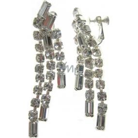 Bižuterie Náušnice štrasové stříbrné 7 x 1,5 cm 1 pár