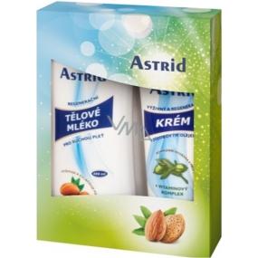 Astrid Regenerační tělové mléko pro suchou pleť 250 ml + výživný a regenerační krém s jojobovým olejem 100 ml, kosmetická sada