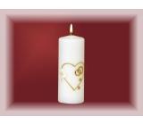 Lima Svatební svíce Svatební srdíčko s prstýnky svíčka bílá válec 60 x 120 mm
