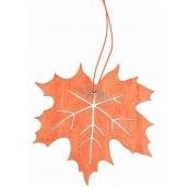 List ze dřevěný oranžový na zavěšení 10 cm