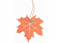 List dřevěný oranžový na zavěšení 10 cm