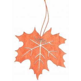 Dřevěný list na zavěšení oranžový 10 cm