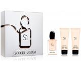Giorgio Armani Sí parfémovaná voda pro ženy 50 ml + sprchový gel 75 ml + tělové mléko 75 ml, dárková sada