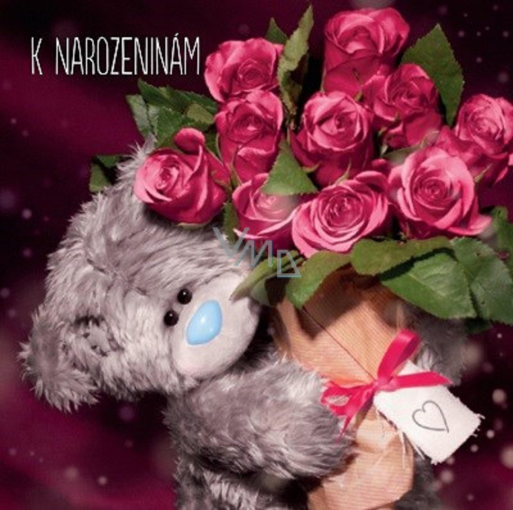 fotky k narozeninám Me to You Blahopřání do obálky 3D K narozeninám, Medvídek s růžemi  fotky k narozeninám