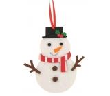 Sněhulák z filcu barevný dekorace na zavěšení 10 cm