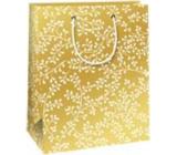 Ditipo Dárková papírová taška 18 x 10 x 22,7 cm Vánoční zlatá - bílé větvičky
