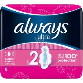 Always Ultra Super hygienické vložky s křidélky 8 kusů