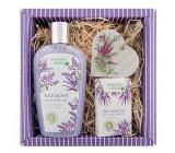 Bohemia Gifts Lavender krémový sprchový gel 250 ml + mýdlo 100 g + dřevěné srdce různé motivy, kosmetická sada