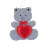 Medvídek z filcu se srdíčkem šedý na zavěšení 6,5 cm