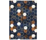 Ditipo Balicí papír tmavě modrý, hnědé bílé šestiúhelníky 100 x 70 cm 2 kusy