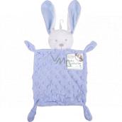 First Steps Usínáček s plyšovou hlavičkou Zajíc Minky modrý 26 x 18 cm