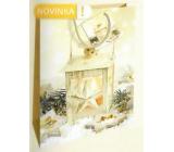 Nekupto Dárková papírová taška 46 x 33 x 10,5 cm zlatá lucerna Vánoční WBXL