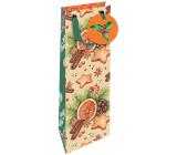 Nekupto Dárková papírová taška na láhev luxusní 13 x 33 cm Vánoční pomeranč, skořice, perníčky, šiška WILH 1981