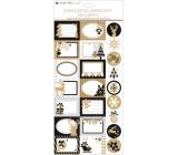 Jmenovky na dárky samolepicí s glitry bílo-hnědé 18 x 40 cm 23 kusů