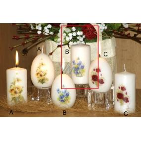 Lima Vůně Květin Fialka vonná svíčka bílá s obtiskem válec 50 x 100 mm 1 kus