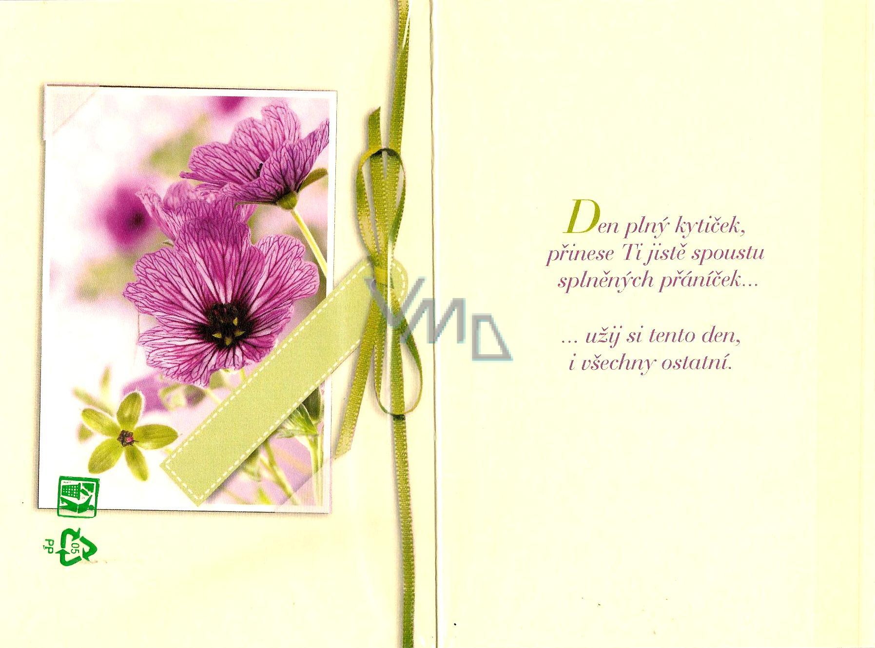 prianie k narozeninám Nekupto Přání k narozeninám fialové kytky   VMD drogerie prianie k narozeninám