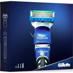 Gillette Fusion ProGlide Power Styler holící strojek + zastřihovací hřebínky 3 kusy + Fusion hydratační gel na holení 200 ml, kosmetická sada