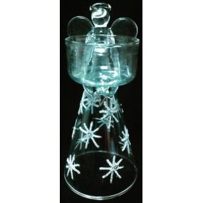 Anděl ze skla na svíčku 15 cm
