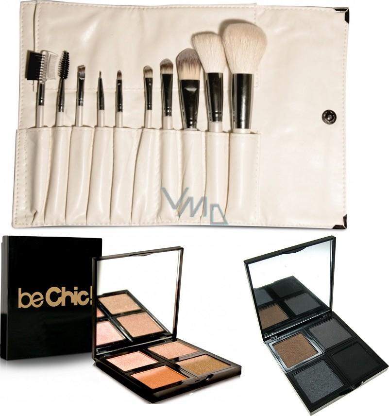 Be Chic! Pearle Miracle sada kosmetických štětců 10 kusů + Summer Look paleta 4 očních stínů + Smokey Eyes paleta 4 očních stínů