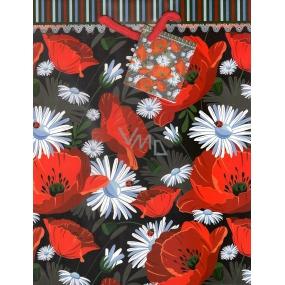 Nekupto Dárková papírová taška střední 23 x 18 x 10 cm vlčí mák, louka 1002 30 KAM