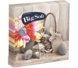 Big Soft Papírové ubrousky 2 vrstvé 33 x 33 cm 20 kusů Velikonočví košík, kytka, lucerna