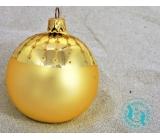 Irisa Baňky skleněné zlaté mat, zdobené, sada 7 cm 12 kusů