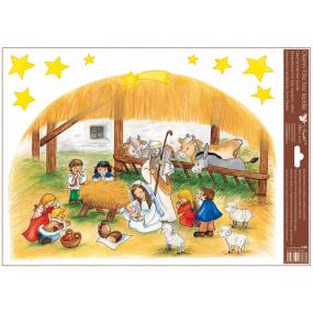Okenní fólie bez lepidla barevná české Vánoce - velký Betlém 30 x 42 cm