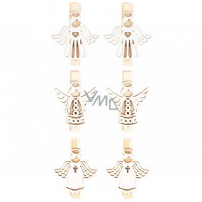 Anděl dřevěný na kolíčku bílý 3,5 cm 6 kusů