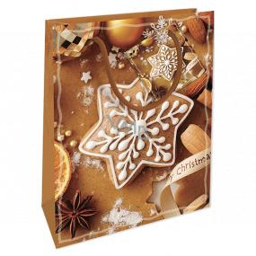 Nekupto Dárková papírová taška 14 x 11 x 6,5 cm Vánoční hnědá perníčky WBS 1916 01