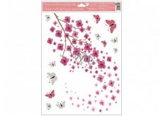 Okenní fólie 1 větev růžové květy s glitry 30 x 42 cm