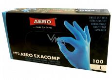 Aero Exacomp Rukavice hygienické jednorázové nitrilové antialergenní nepudrované, velikost L, box 100 kusů modré