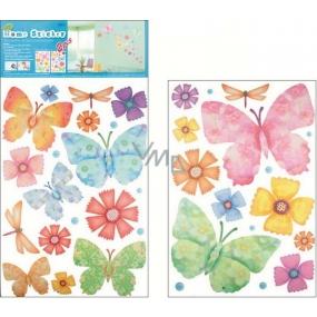 Room Decor Samolepky na zeď motýli a květy 52 x 35 cm 2 archy