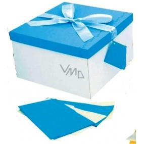 Anděl Dárková krabička skládací s mašlí modrá 25 x 25 x 14,5 cm 1 kus
