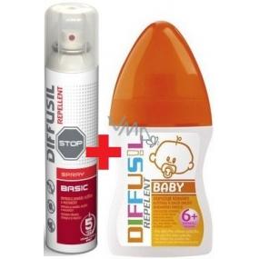 Diffusil Repellent Basic repelent na odpuzování komárů, klíšťat a muchniček sprej 200 ml + Diffusil Baby repelent 100 ml
