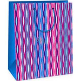 Ditipo Dárková papírová taška 26,4 x 13,7 x 32,4 cm růžovo modro zelené vlnky AB
