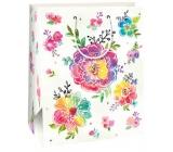 Ditipo Dárková papírová taška velká světle zelená, barevné květy 26,4 x 13,7 x 32,4 cm AB