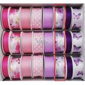 Ditipo Stuha vázací saténová fialové květy 3 m x 25 mm