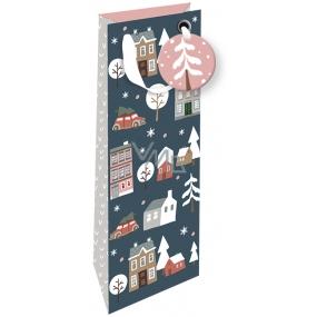 Nekupto Dárková papírová taška na láhev luxusní 33 x 13 cm Vánoční 1793 WILH